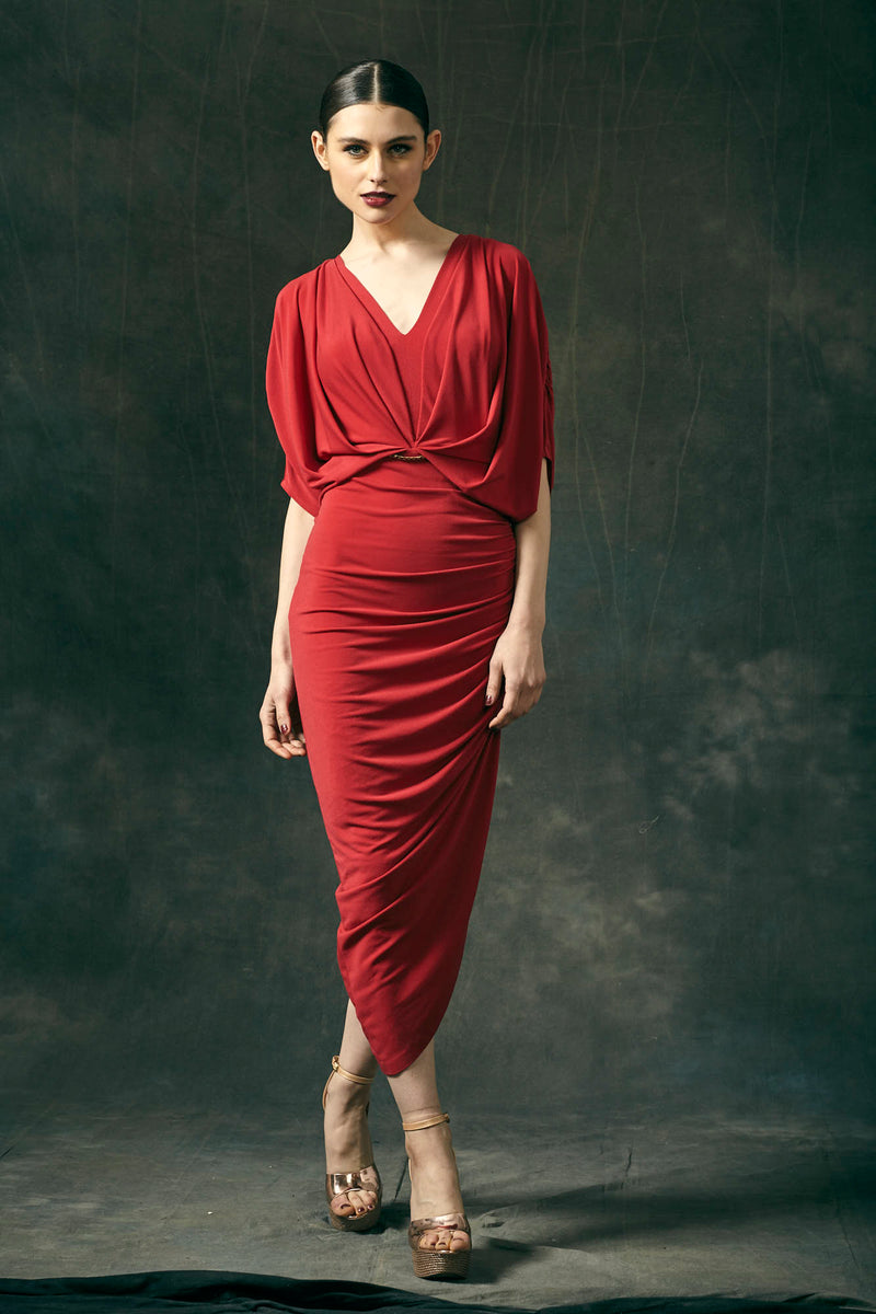 Red Jersey Draped Midi Dress
