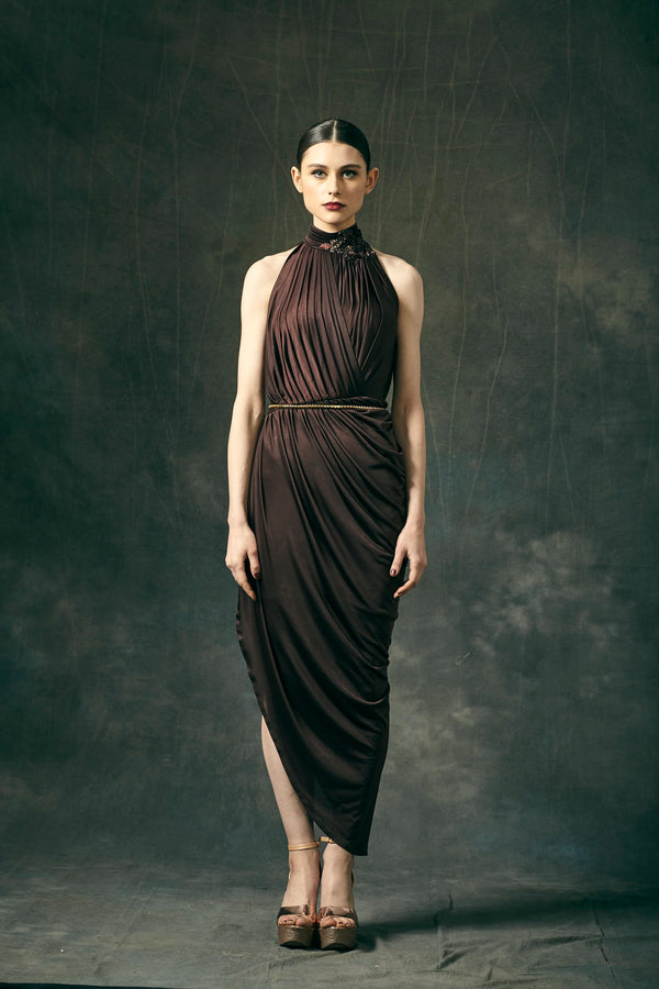 Brown Jersey Draped Asymmetric Dress