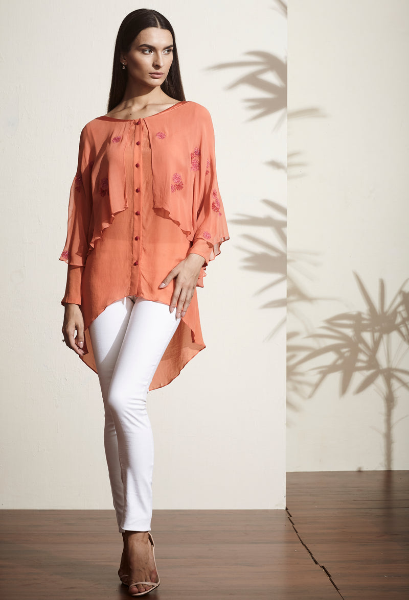 Rust hand-embellished high-low tunic.