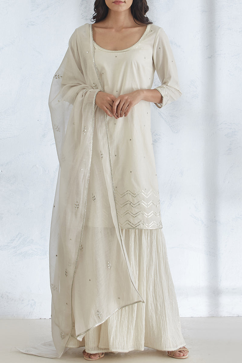 Ivory kurta With Sharara And Dupatta
