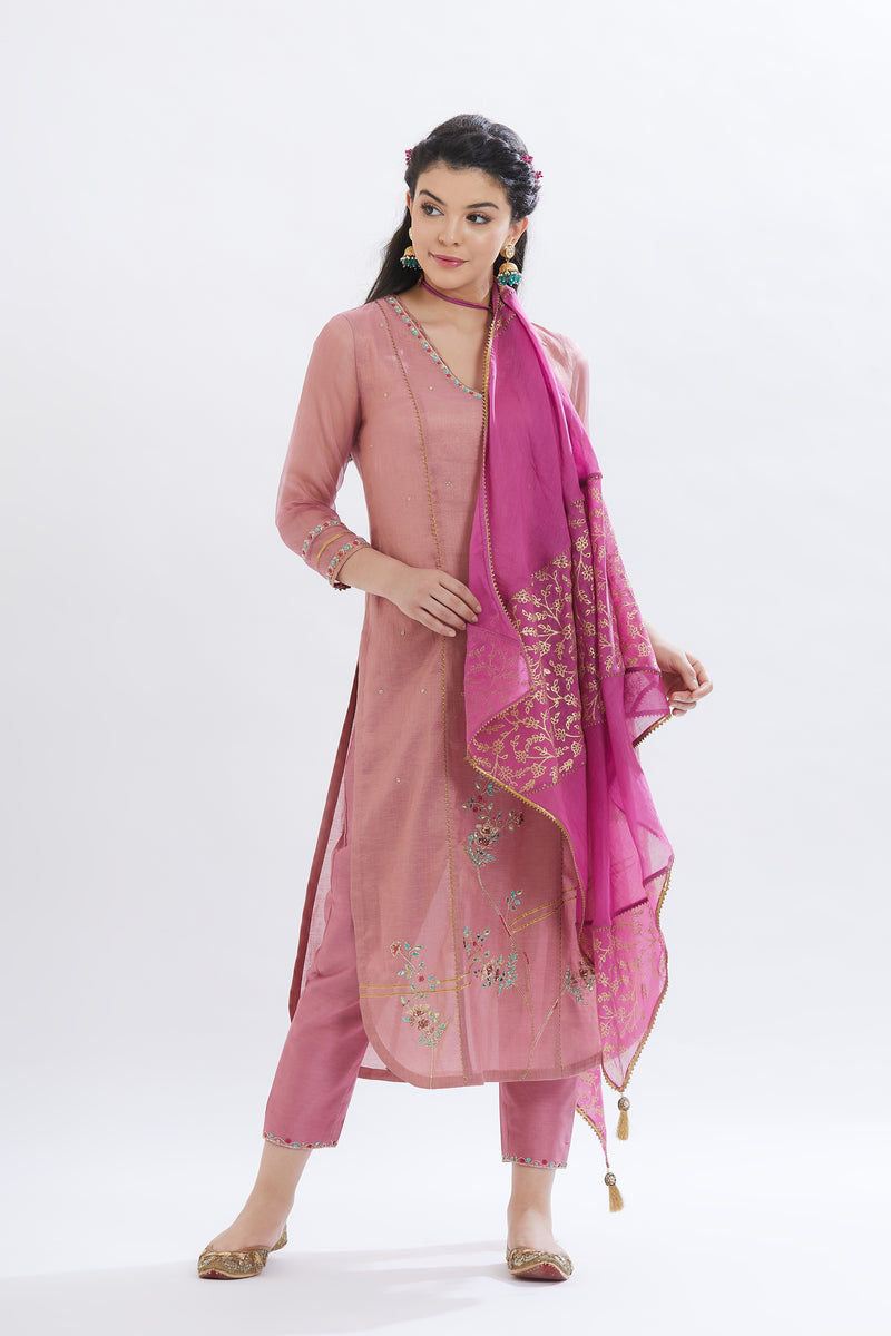 Old rose kurta with pants and duaptta