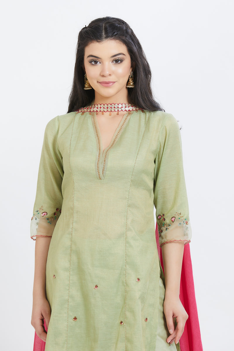 Jade kurta with pants and dupatta
