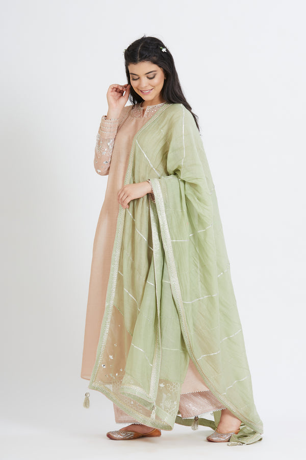 Nude  pleated tunic with plaazzo with dupatta