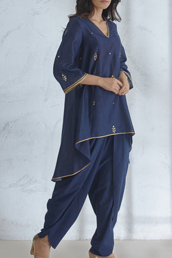 Navy Hi-Low Kurta
