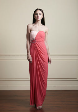 Off-shoulder pink, hand draped, scalloped waistline.