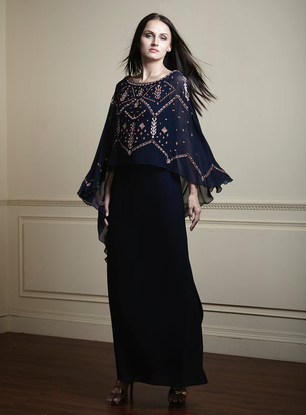 Navy blue, Contrast geometric hand-embellished glamorous georgette long layered dress.