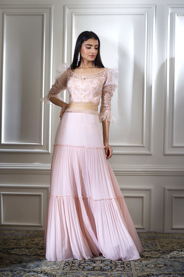 SOFT PEACH DORI EMBROIDERED CROP TOP WITH ORGANZA SLEEVES AND TIERED LEHNGA