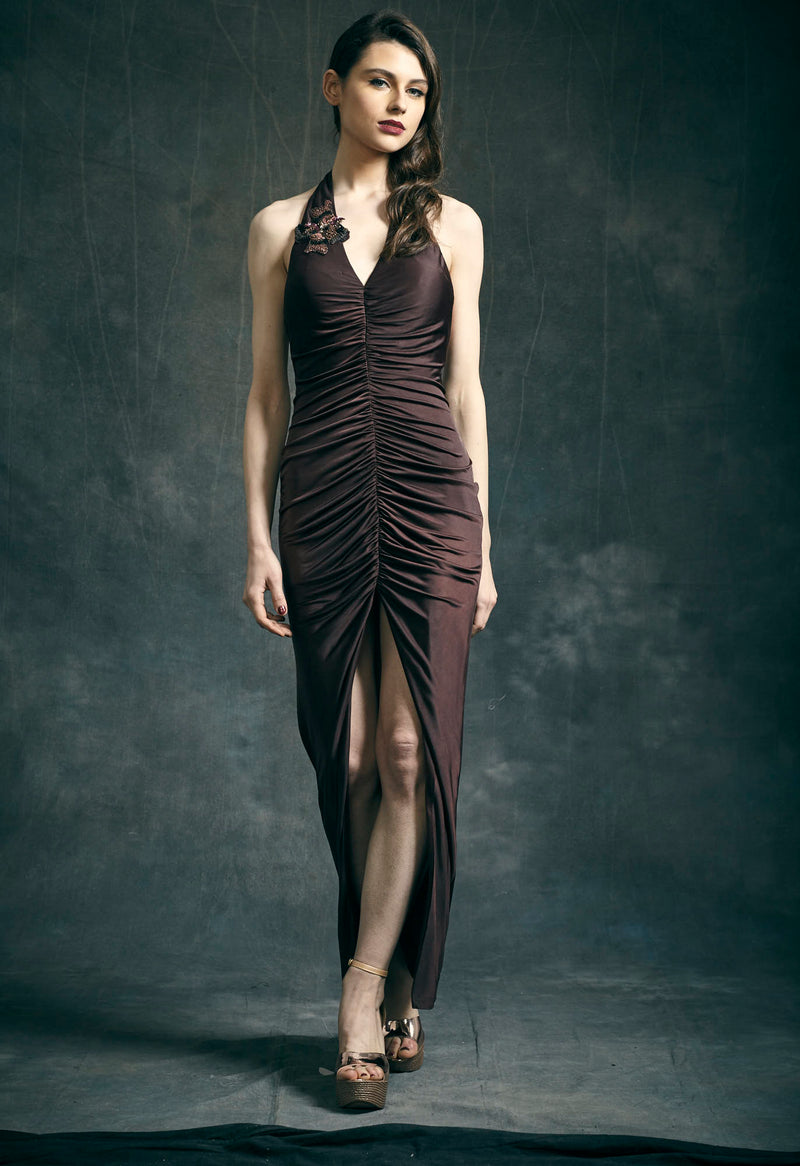 Brown Jersey Draped Dress