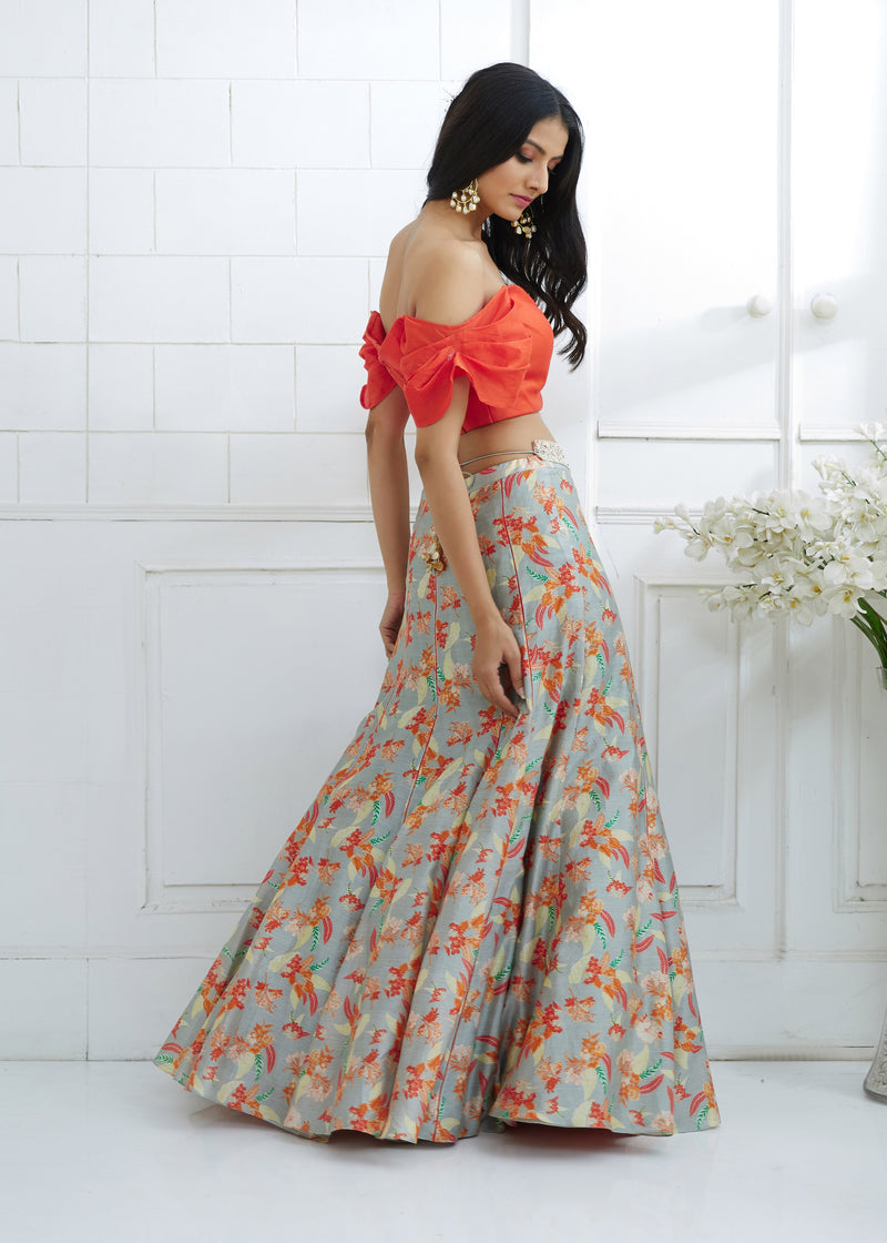 Orange printed lehenga