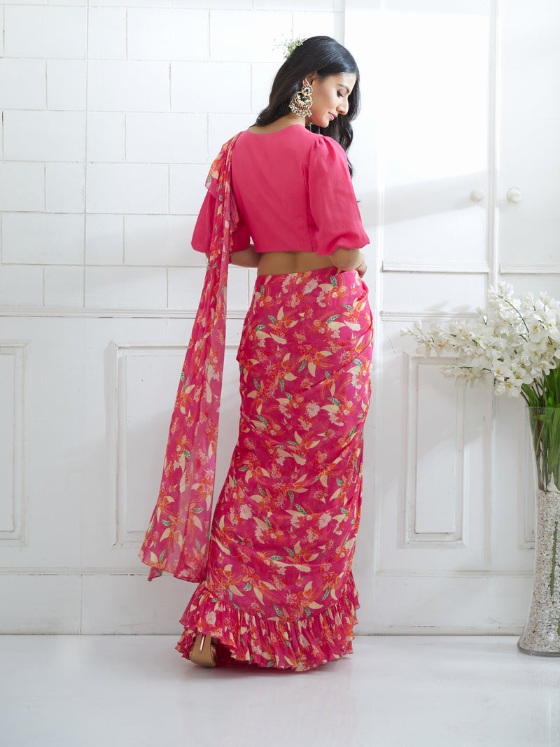 FUCHSIA EMBROIDERED KNOTTED BLOUSE WITH PRINTED RUFFLE SAREE