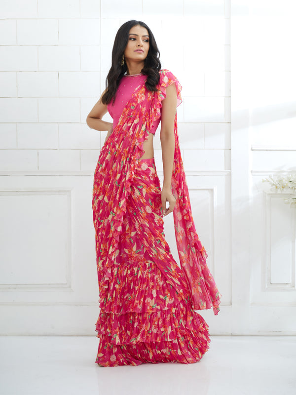 FUCHSIA EMBROIDERED BLOUSE WITH PRINTED RUFFLE SAREE