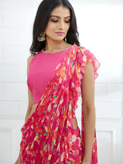 FUCHSIA HALTER NECK BLOUSE WITH HAND EMBROIDERY