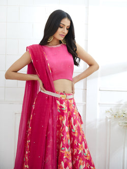 D.FUCHSIA OMBRE DUPATTA EMBELLISHED WITH  HAND EMBROIDERY