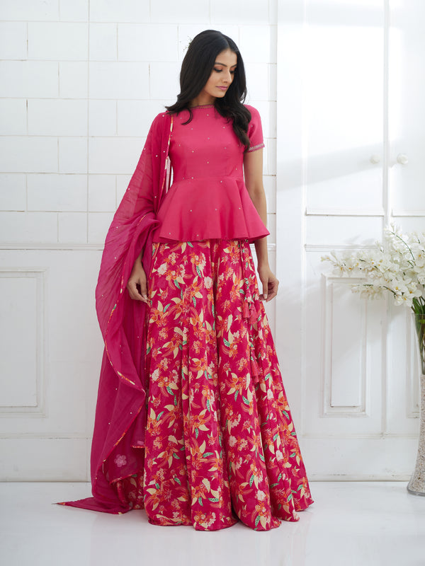 FUCHSIA EMBROIDERED PEPLUM WITH PRINTED LEHENGA