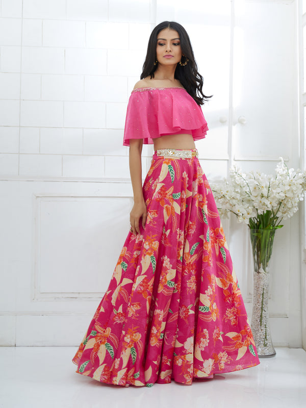 FUCHSIA OFF-SHOULDER EMBROIDERED BLOUSE WITH PRINTED LEHENGA