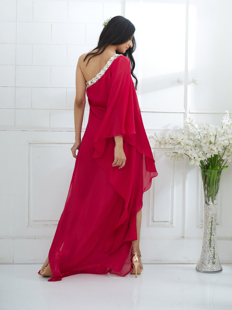 ONE SHOULDER RANI PINK  DRESS WITH SIDE SLIT