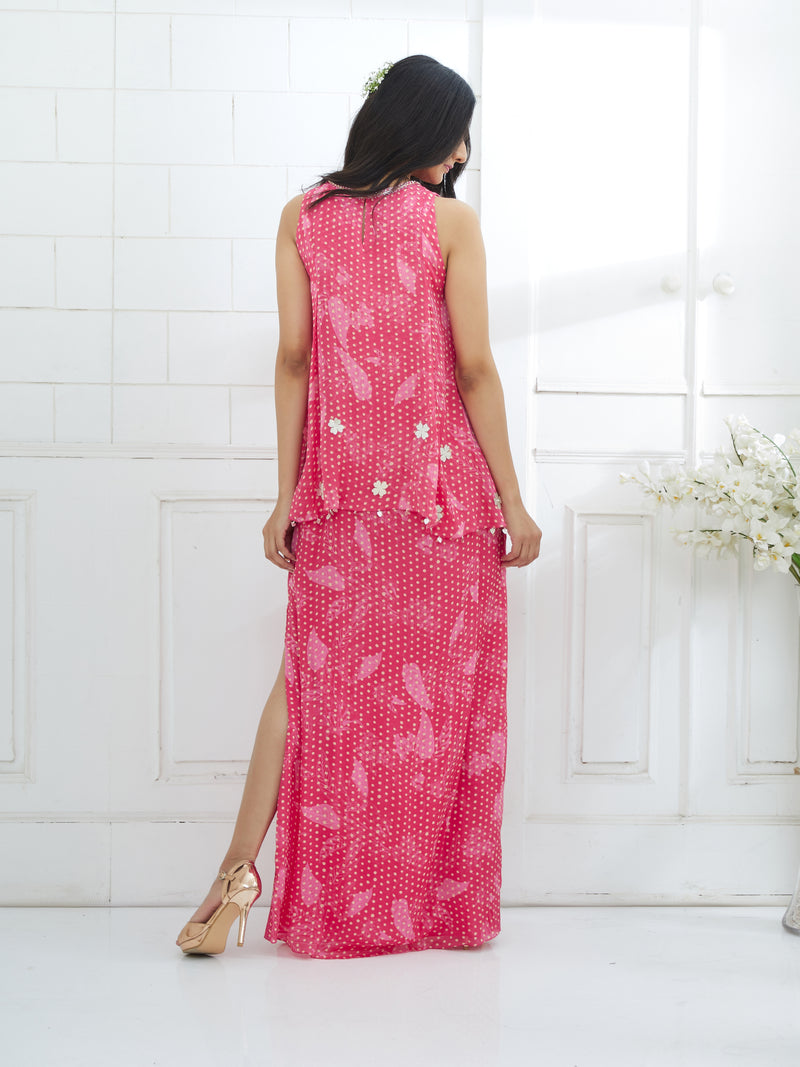FUCHSIA PRINTED CAPE DRESS WITH SIDE SLIT