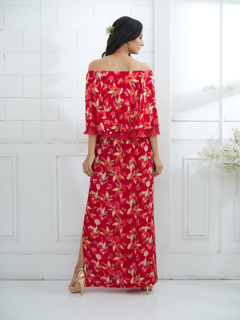 RED PRINTED CAPE DRESS WITH SIDE SLIT