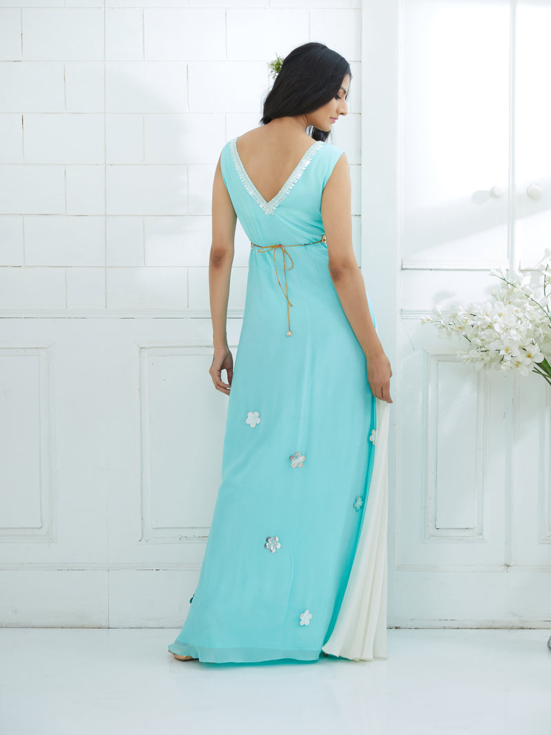 AQUA/IVORY EMBROIDERED DRESS