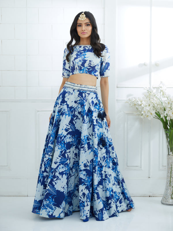 BLUE PRINTED EMBROIDERED BLOUSE AND LEHENGA
