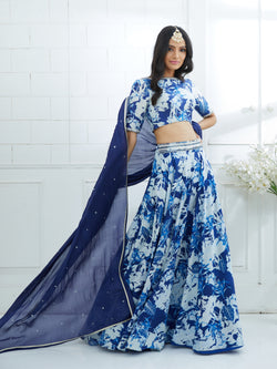 DEEP ROYAL BLUE DUPATTA EMBELLISHED WITH  HAND EMBROIDERY