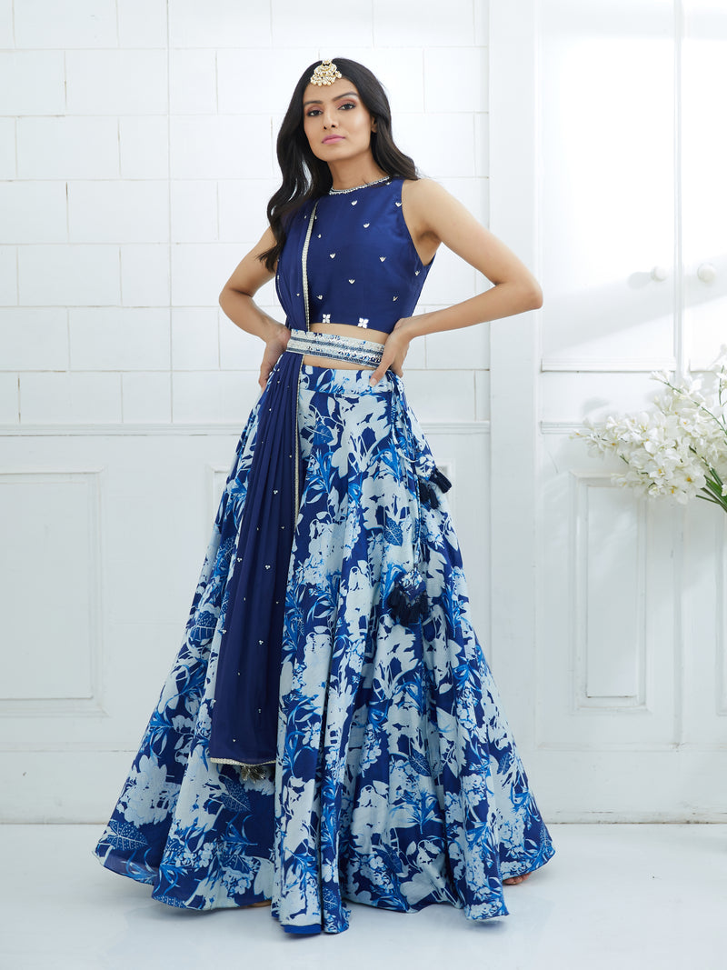 BLUE EMBROIDERED BLOUSE WITH PRINTED LEHENGA AND DUPATTA
