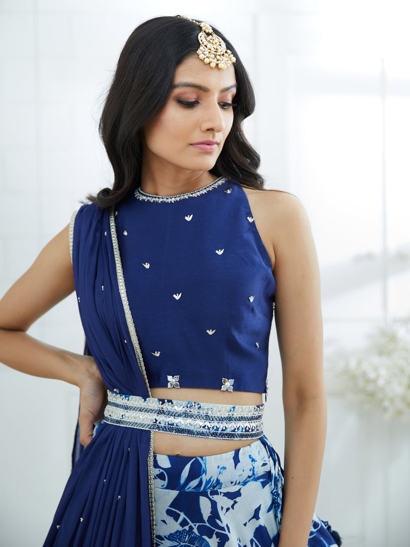 DEEP ROYAL BLUE BLOUSE EMBELLISHED WITH HAND EMBROIDERY