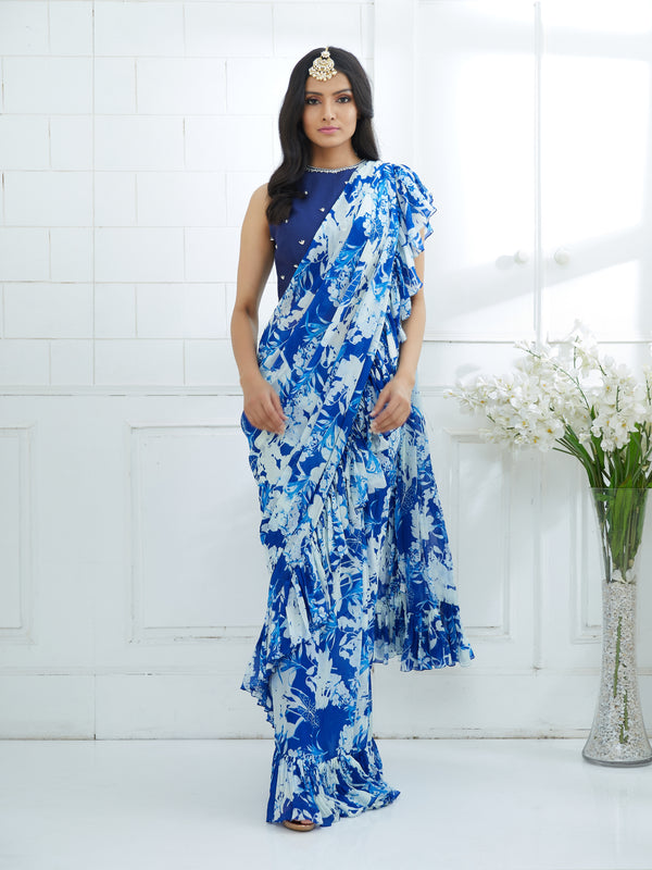ROYAL BLUE EMBROIDERED BLOUSE WITH PRINTED RUFFLE SAREE