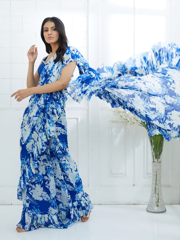BLUE EMBROIDERED BLOUSE WITH PRINTED RUFFLE SAREE
