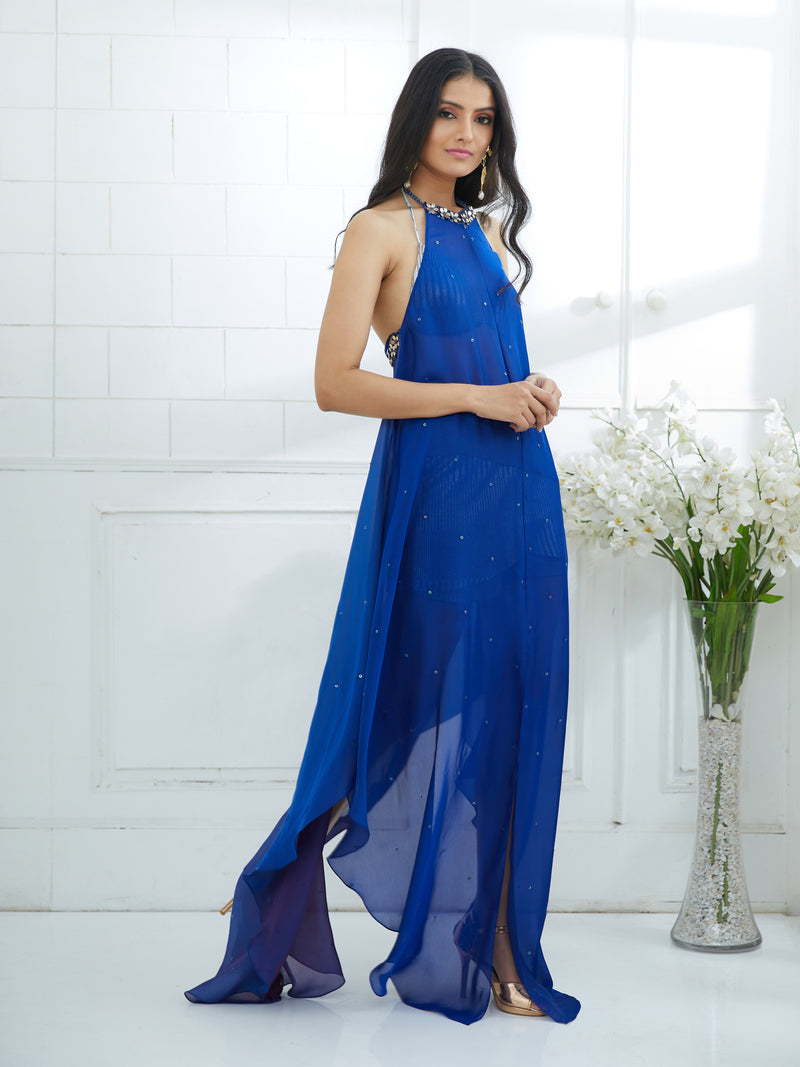 BLUE OMBRE DRESS EMBELLISHED WITH HAND EMBROIDERY