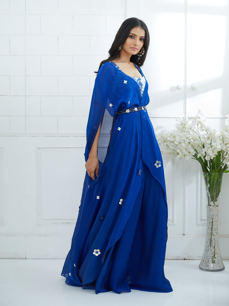 BLUE CAPE WITH PRINTED BLOUSE AND PALAZZO