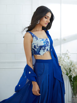 ROYAL BLUE PRINTED BLOUSE
