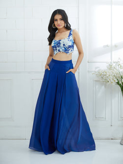 BLUE OMBRE PLEATED PALAZZO