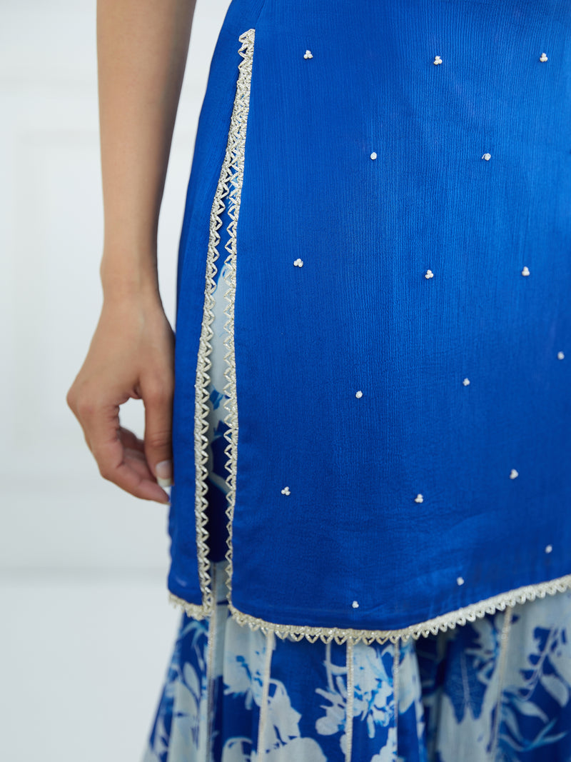 ROYAL BLUE STRAPY KURTA EMBELLISHED WITH HAND EMBROIDERY