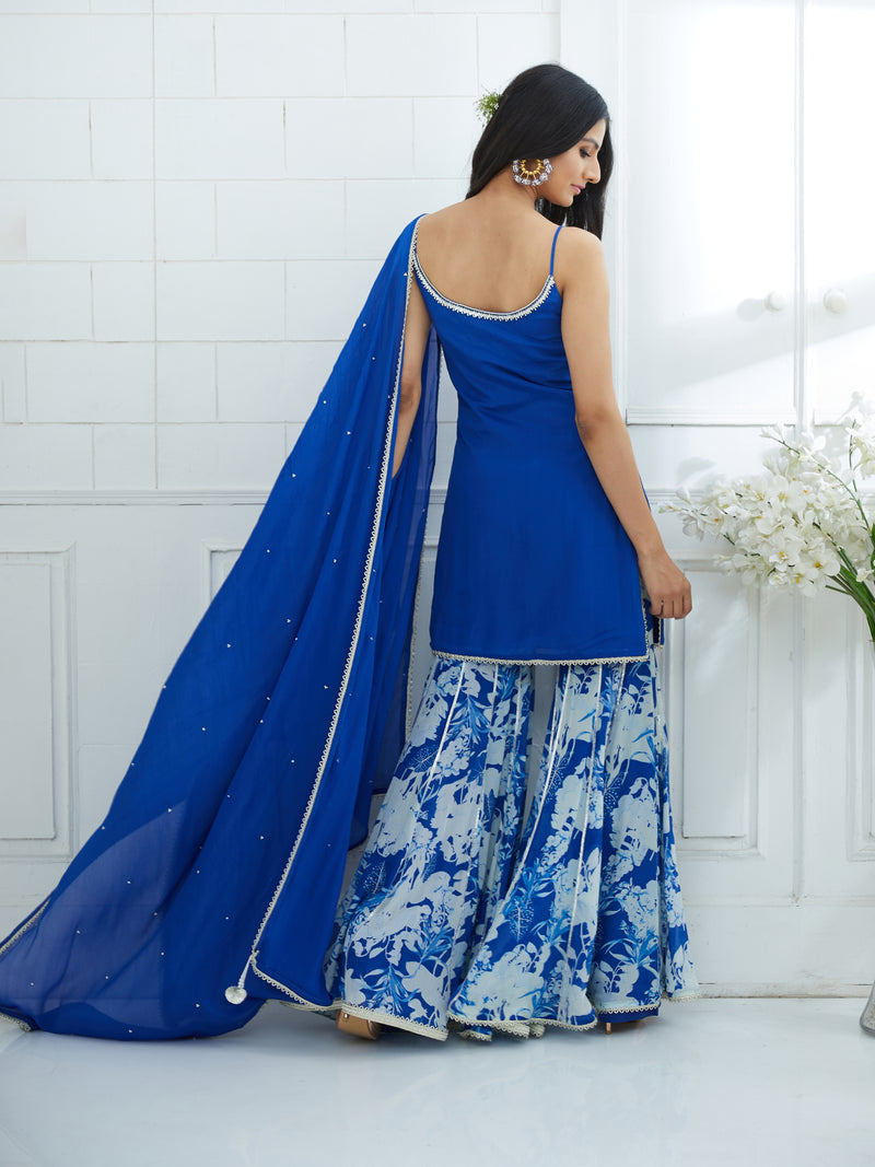 ROYAL BLUTRAPY EMBROIDERED KURTA WITH PRINTED SHARARA AND EMBROIDERED DUPATTA