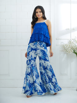 ROYAL BLUE STRAPY  DOUBLE LAYER TOP EMBELLISHED WITH HAND EMBROIDERY