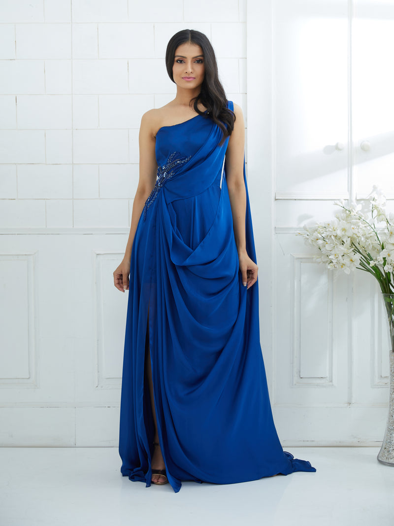 BLUE  DRAPE GOWN EMBELLISHED WITH HAND EMBROIDERY