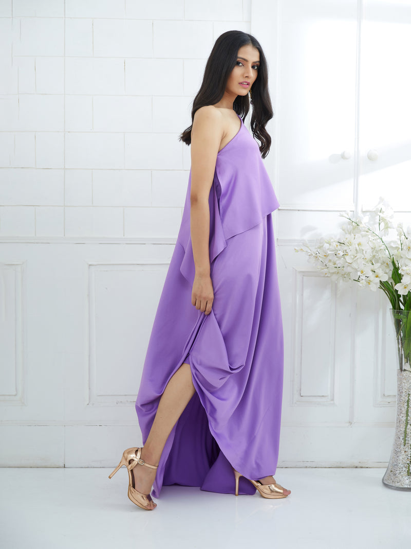 LILAC ONE SHOULDER CAPE DRESS