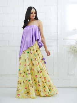 YELLOW PRINTED LEHENGA WITH LILAC TOP