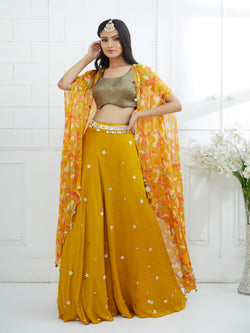 MUSTARD PRINTED LEHNGA EMBELLISHED WITH HAND EMBROIDERY