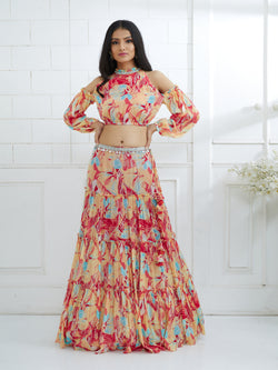 MULTICOLOR EMBROIDERED TOP WITH TIERED LEHENGA