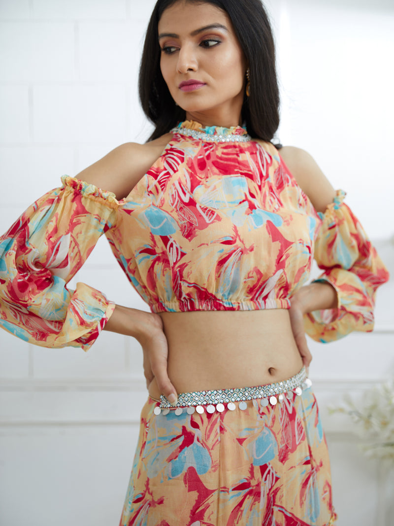 MULTICOLOR PRINTED TOP EMBELLISHED WITH HAND EMBROIDERY