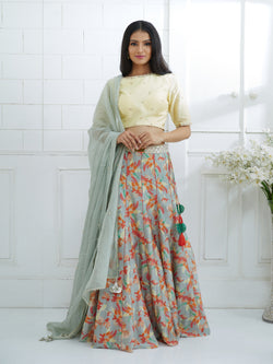 PALE YELLOW EMBROIDERED BLOUSE WITH PRINTED LEHENGA AND EMBROIDERED DUPATTA