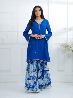 BLUE EMBROIDERED KURTA WITH PRINTED SHARARA
