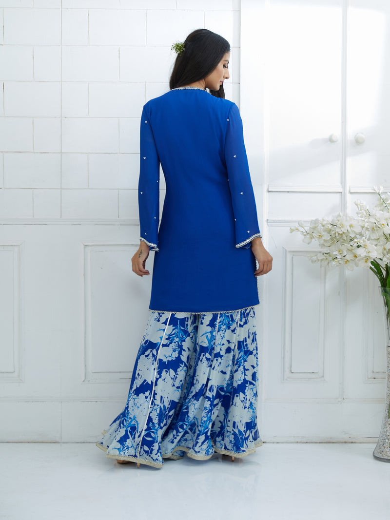 ROYAL BLUE KURTA EMBELLISHED WITH HAND EMBROIDERY