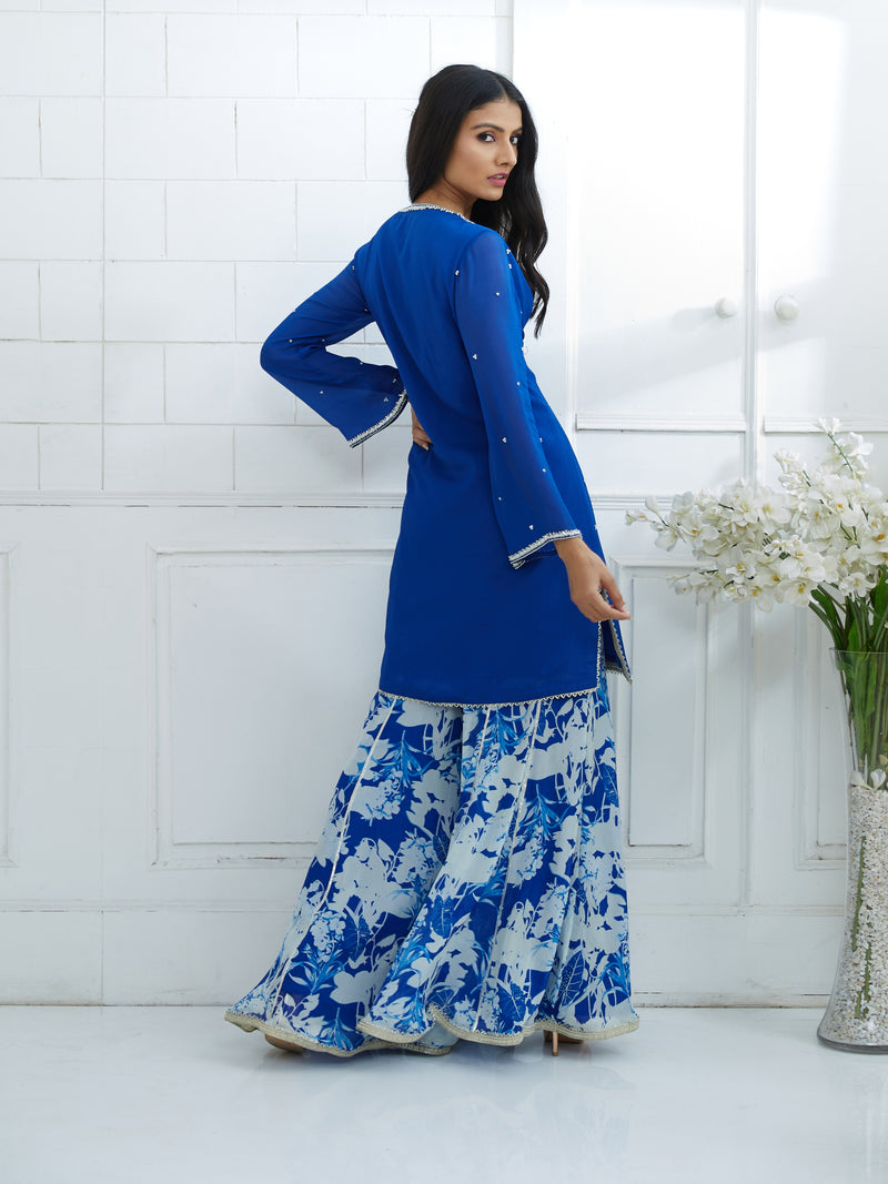 ROYAL BLUE PRINTED PANELLED SHARARA