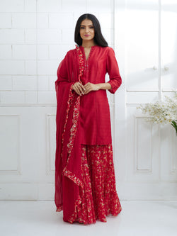 RED EMBROIDERED KURTA WITH TIERED SHARARA AND DUPATTA
