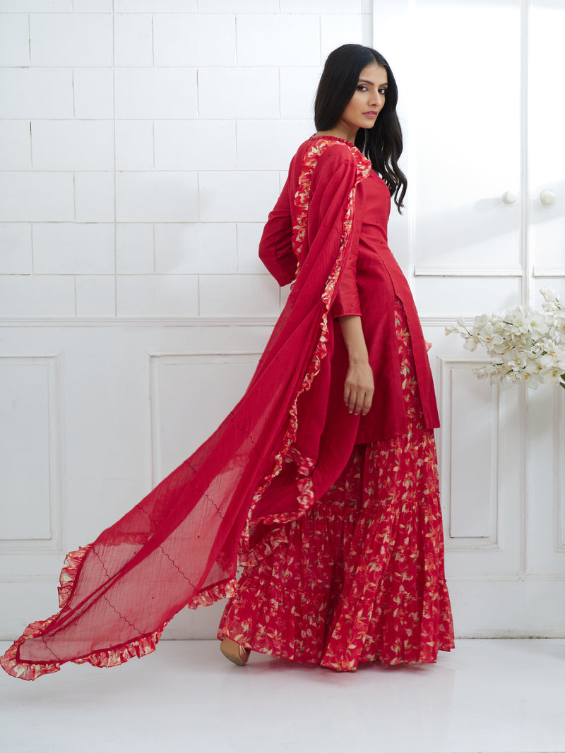 RED DUPATTA WITH PRINTED RUFFLE BORDER