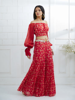 RED PRINTED TIERED SHARARA