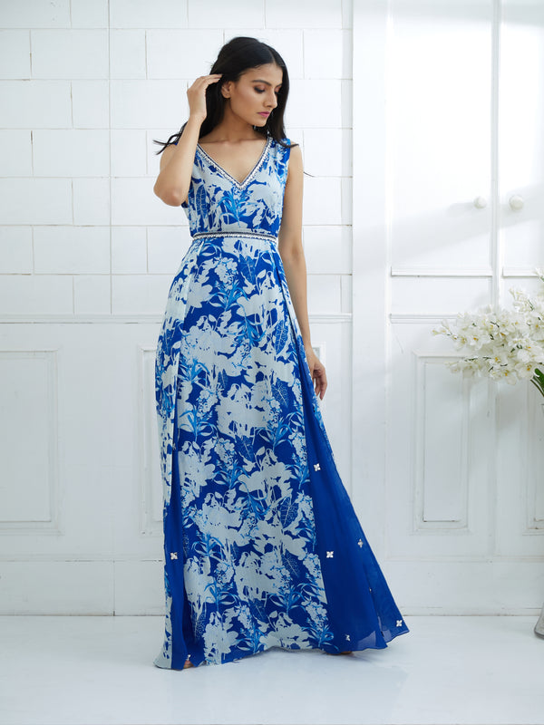 ROYAL BLUE PRINTED DRESS